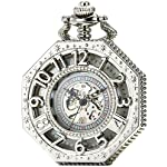 SEWOR Octagon Skeleton Pocket Watch with Chain, Halloween Style Steampunk Mechanical Hand Wind 13