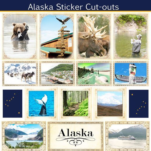 Alaska Sightseeing Picture Sticker Cut Outs (60508)