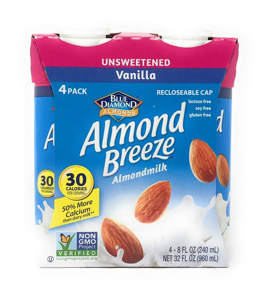 Blue Diamond, Almond Breeze Unsweetened Vanilla, 8 Fl Oz, 4 Pack