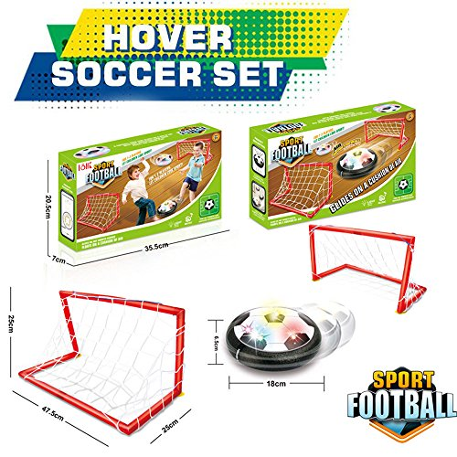Kids Sports Toys Air Powered Electric Soccer Football Goal Set Hover Ball with 2 Gates LED Air Power Training Ball Indoor Outdoor Disk Game with LED Lights and Mini Screwdriver by Tanhangguan