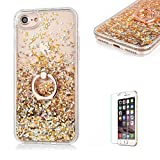 "iPhone 6 Plus Cover,iPhone 6S Plus Glitter Case,Funyye New Creative Floating Water Liquid Small Love Hearts Design Luxury Sparkly Bling Glitter Back Hard Shell Protective Case Cover With Ring Holder Protective Case for iPhone 6/6S Plus 5.5""-Gold"