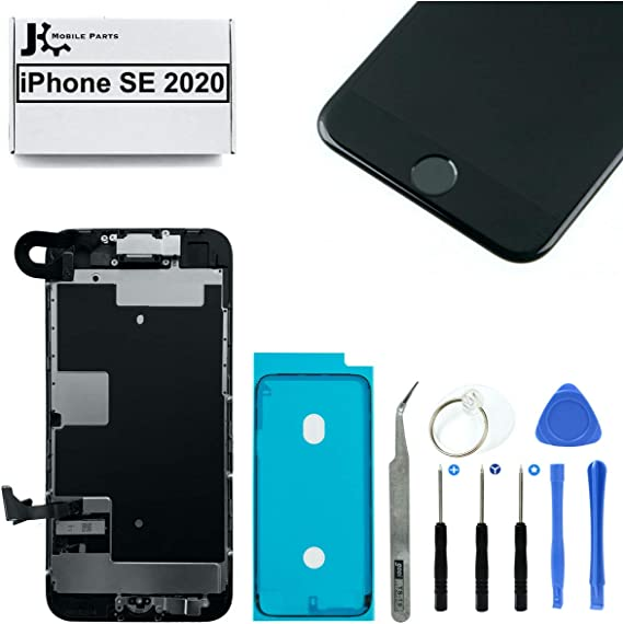 Full Screen Replacement LCD 3D Touch Assembly Front Camera Ear Speaker Home Button with Frame Adhesive and Repair Tools for iPhone SE 2020 (2nd Gen) 4.7 inch