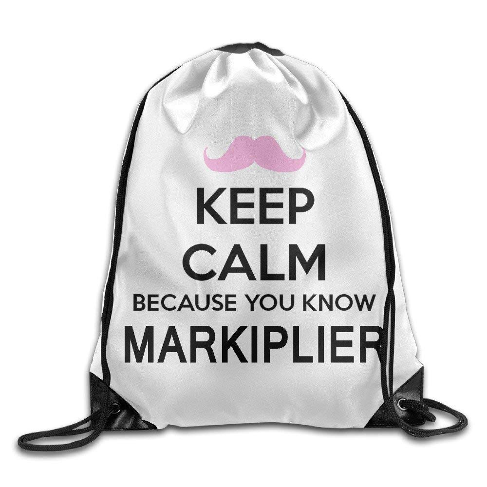 HAVER Fashion Keep Calm Markiplier Warfstache Drawstring Backpack Bag One Size Gym Bags School Bag