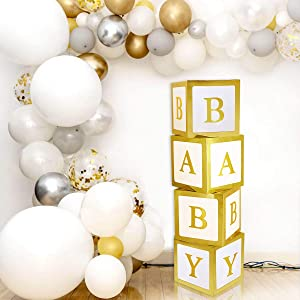 Baby Shower Decorations Gold Large Baby Box Baby Blocks Decorations for Baby Shower Boy Girl 1st Birthday Party Decorations by QIFU