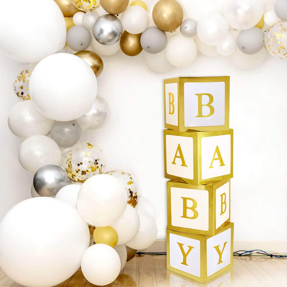 Baby Shower Decorations Gold Large Baby Box Baby Blocks Decorations for Baby Shower Boy Girl 1st Birthday Party Decorations by QIFU by QIFU