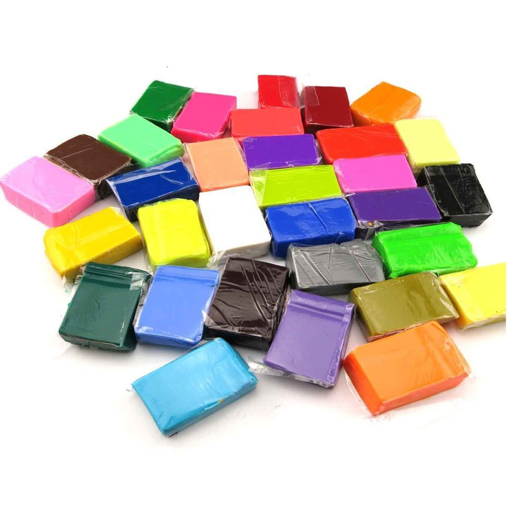 DIY Colorful Clay, Schoone 24 Colors Polymer Clay Creative Street Model Clay, Soft Molding Craft Oven Baking Clay and Kits, Tutorials, Best Kids Gifts