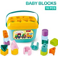 AdiChai Huanger Baby's First Building Blocks - for Baby Kids - Alphabets and Shapes Learning