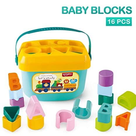 AdiChai Huanger Babys First Building Blocks - for Baby Kids - Alphabets and Shapes Learning