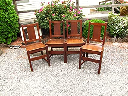 Antique Set of 4 L&jG Stickley Dining Chairs w2262 - Amazon.com - Antique Set Of 4 L&jG Stickley Dining Chairs W2262 - Chairs