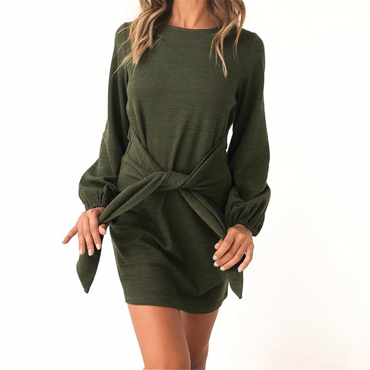 Tarkis Women Long Jumper Dress Puff Sleeve Stylish with Tie Front Pullover Dresses