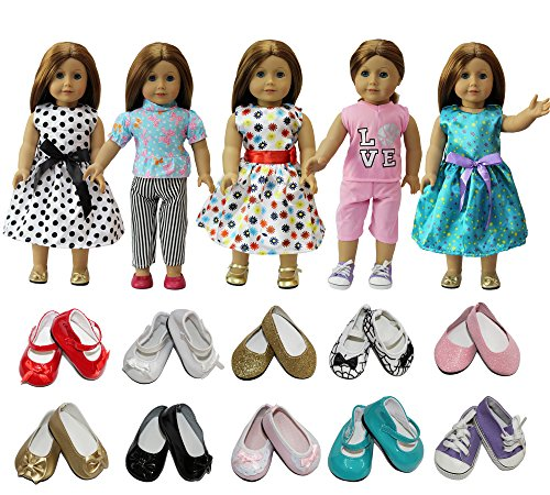 e2361cd17959d ZITA ELEMENT Doll Clothes- Lot 7 Daily Costumes Gown Clothes+Shoes fit for  American's Girl Doll and other 18 inches XMAS GIFT- Ramdon Style