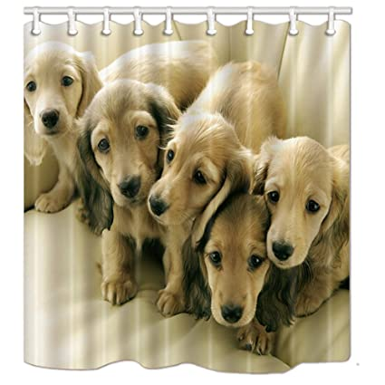 NYMB Dog Lover Decor Collection Friendship Shower Curtain In Bath 69X70 Inches Mildew Resistant Polyester