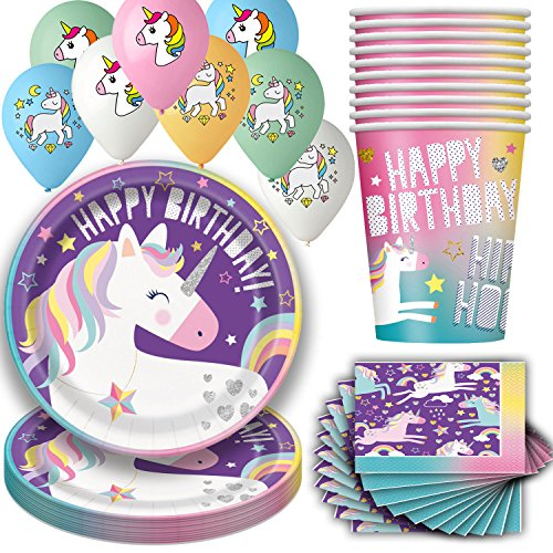 Best Review Of Unicorn Birthday Party Supplies for 16 - Large Plates, Cups, Napkins and Balloons - D...