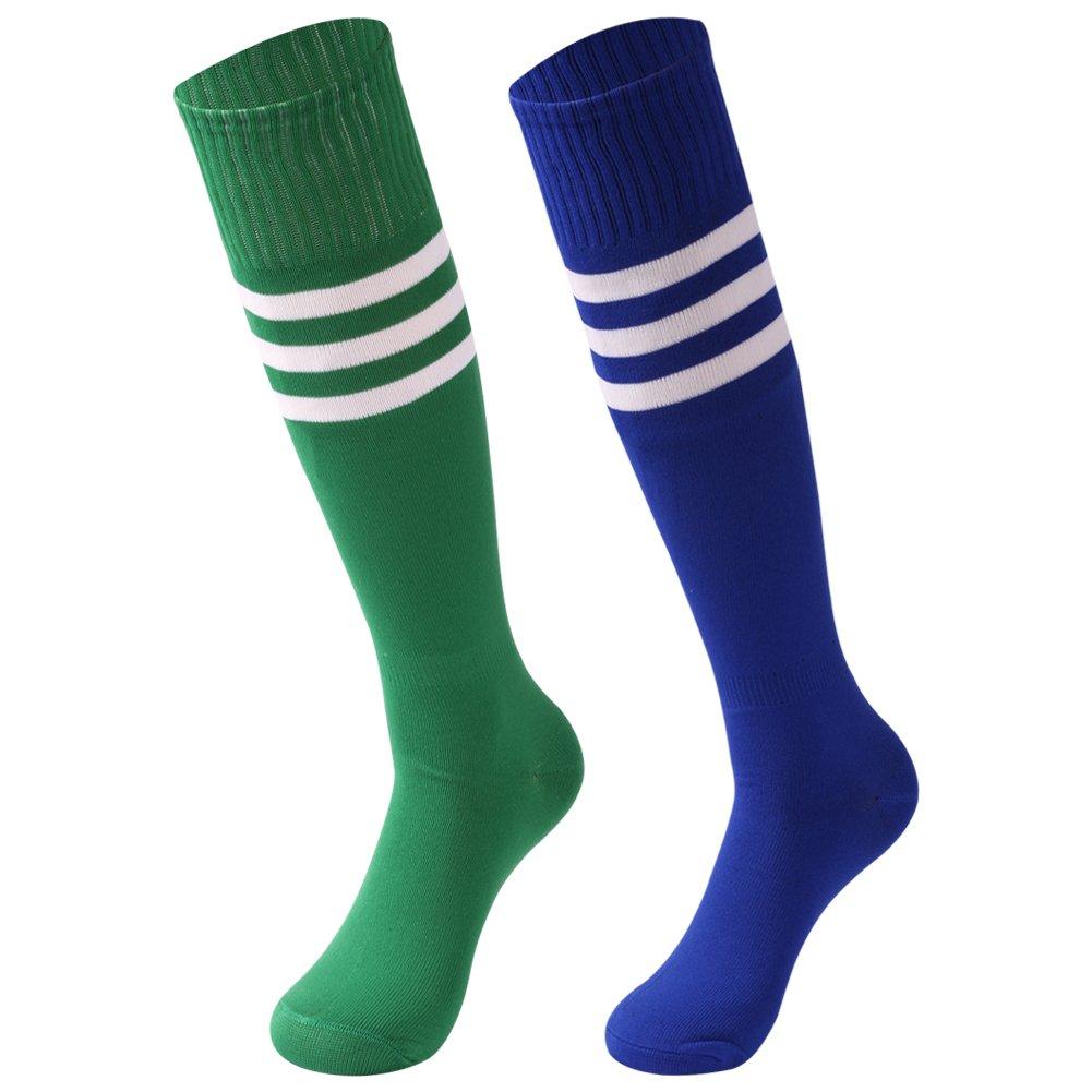 saounisi Unisex Soccer Socks,2 Pairs Knee High Socks Bright Colorful Stripe Football Team Sports Tube Long Cheering Squad Socks Size 9-13 Green/Navy by saounisi