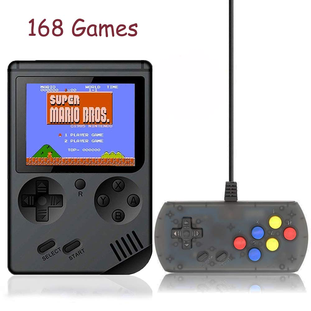 Kalolary 168 Games Retro Handheld Game Console, FC System Plus Extra Joystick Portable Mini Controller 3 Inch Support TV 2 Player 168 Classic Game Console, Presents for Children - Black