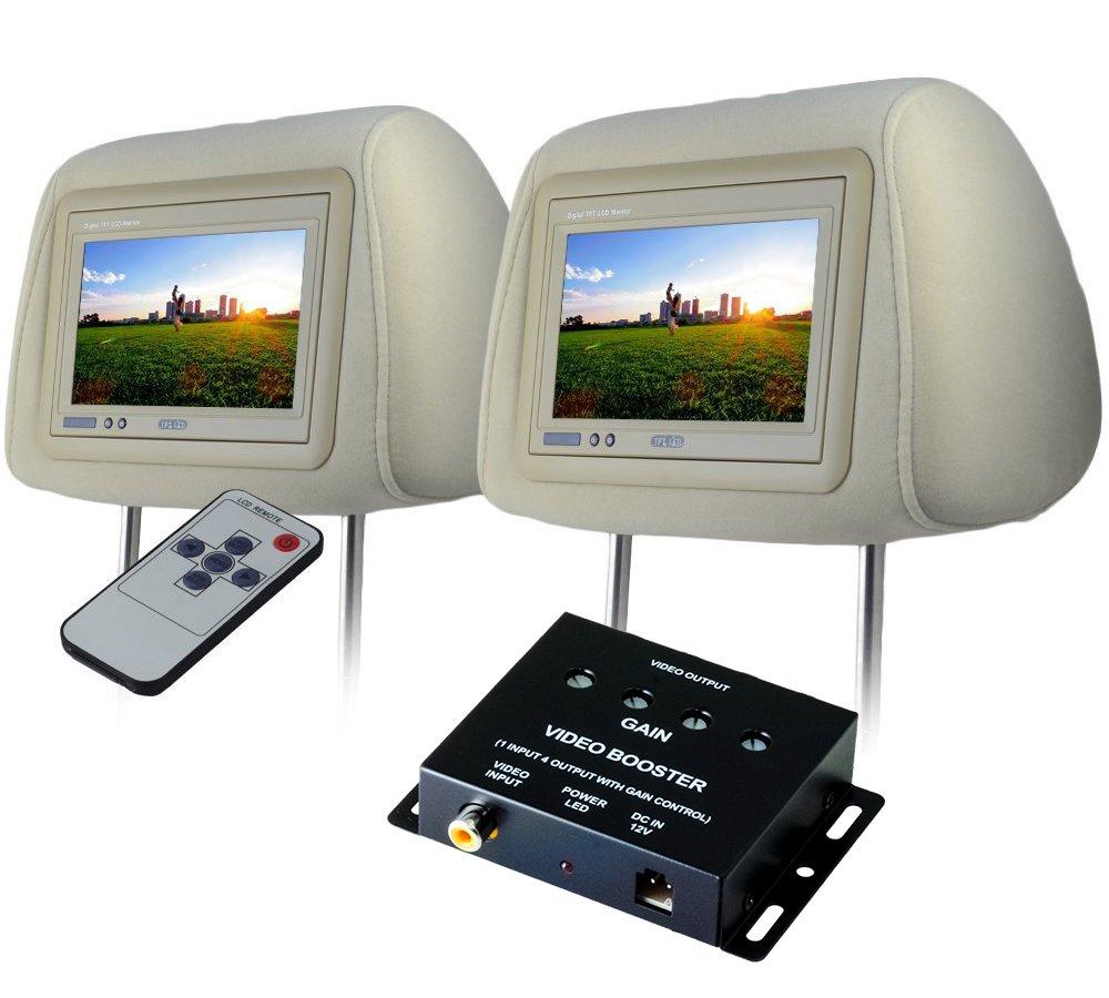 SEIKOH ヘッドレストモニター 7インチ 左右 ビデオブースター 4ポートセット 800×480 WVGA LCD 12V モケット ベージュ リモコン付 CARHM7MBESET2CARVB4CH B079Z3QSZC