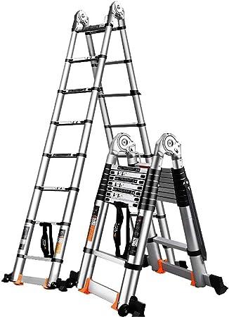 WGOOGA Escalera telescópica Doble de Aluminio con Ruedas y Barra estabilizadora Escaleras Extensibles Plegables portátiles multipropósito for Loft de Oficina en casa (Size : 5.8m/19ft(2.9m+2.9m)): Amazon.es: Hogar
