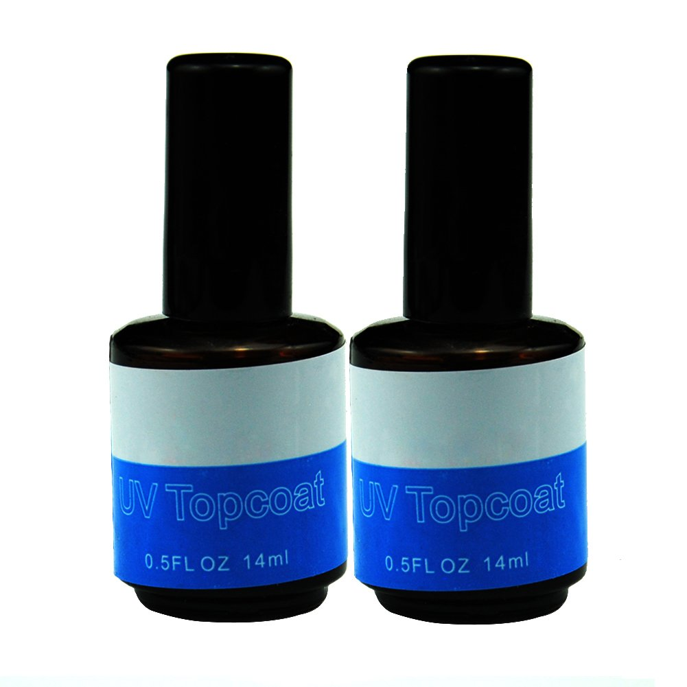 Fashion gallery 2PCS UV Topcoat Top Coat Acrylic Nail Art Gel Polish With Brush Gloss Seal Glaze Faster Tips Nail Tools Gel