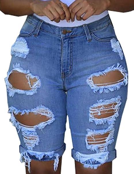 Pantalones Vaqueros Rotos Mujer Verano Cintura Alta Jeans Cortos Casual  Denim Longitud Rodilla Short Pantalon Hot 7f6bec69f373