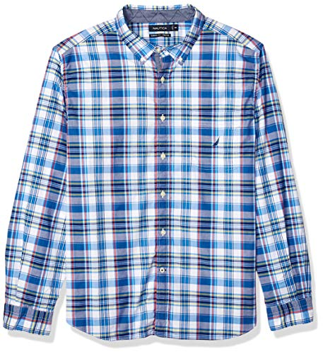 Nautica Men's Long Sleeve Stretch Casual Plaid Button Down Shirt, Blue Depths Medium