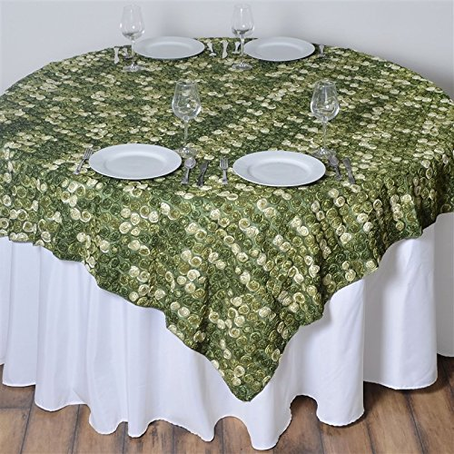 - 72 Inch X 72 Inch Triple-Tone Mini-Rosettes Table Overlays - Willow Green Umbre