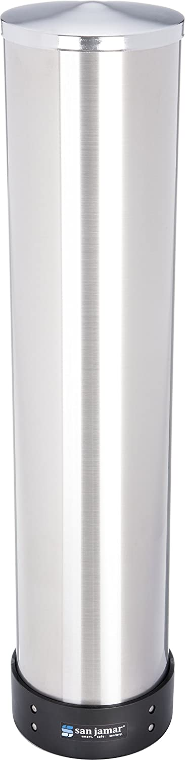 "San Jamar C3500P Stainless Steel Pull Type Beverage Cup Dispenser, Fits 32oz to 46oz Cup Size, 4"" to 4-7/8"" Rim, 23-1/2"" Tube Length"