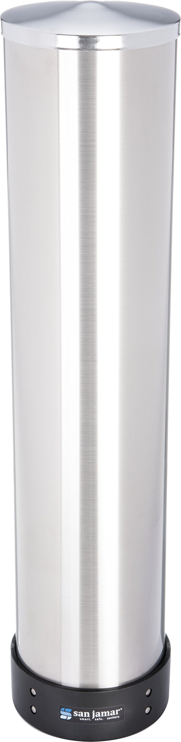 San Jamar C3500P Stainless Steel Pull Type Beverage Cup Dispenser, Fits 32oz to 46oz Cup Size, 4'' to 4-7/8'' Rim, 23-1/2'' Tube Length