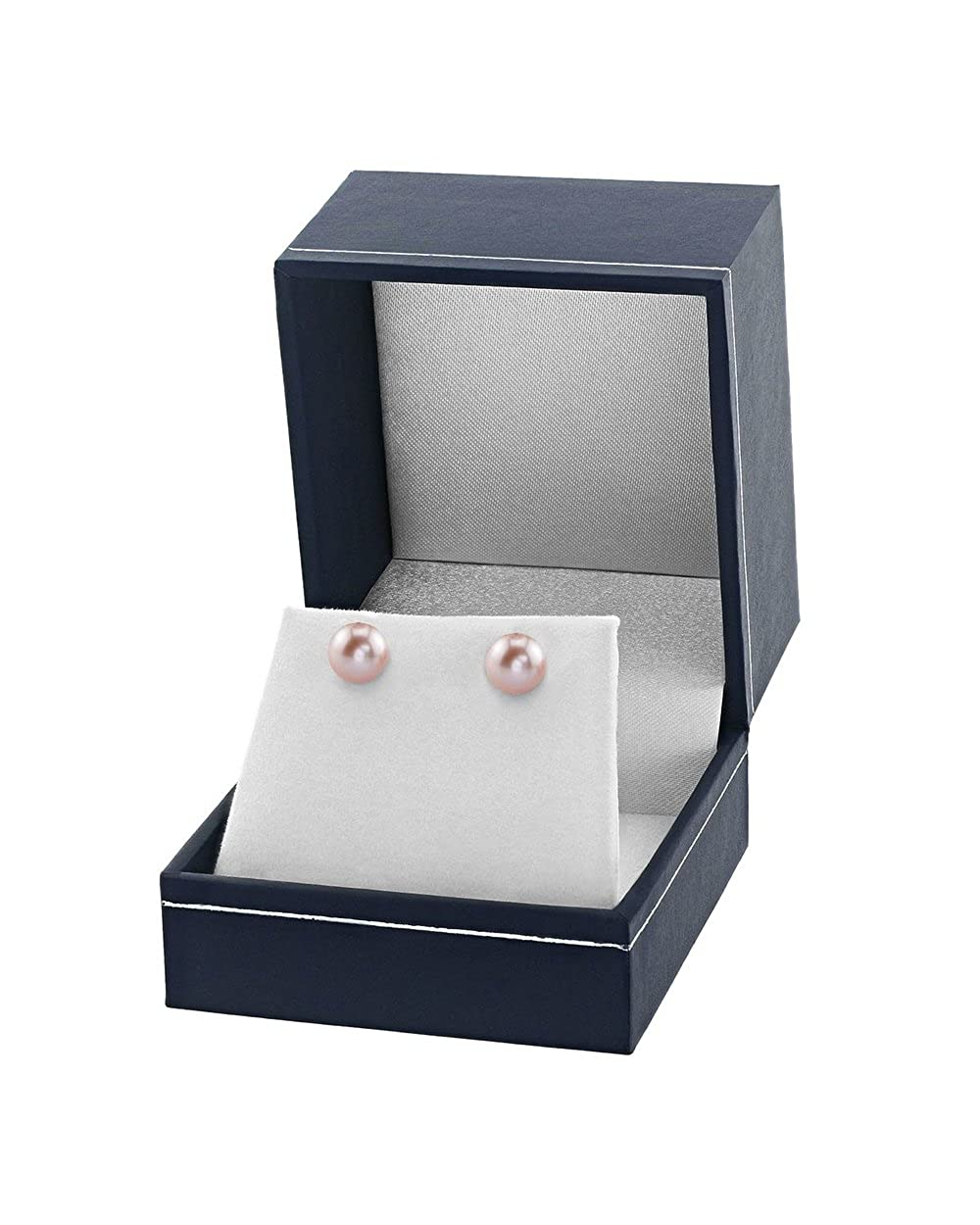 THE PEARL SOURCE 14K Gold AAAA Quality Round Pink Freshwater Cultured Pearl Stud Earrings for Women lvstuds-7-WG-AO:8