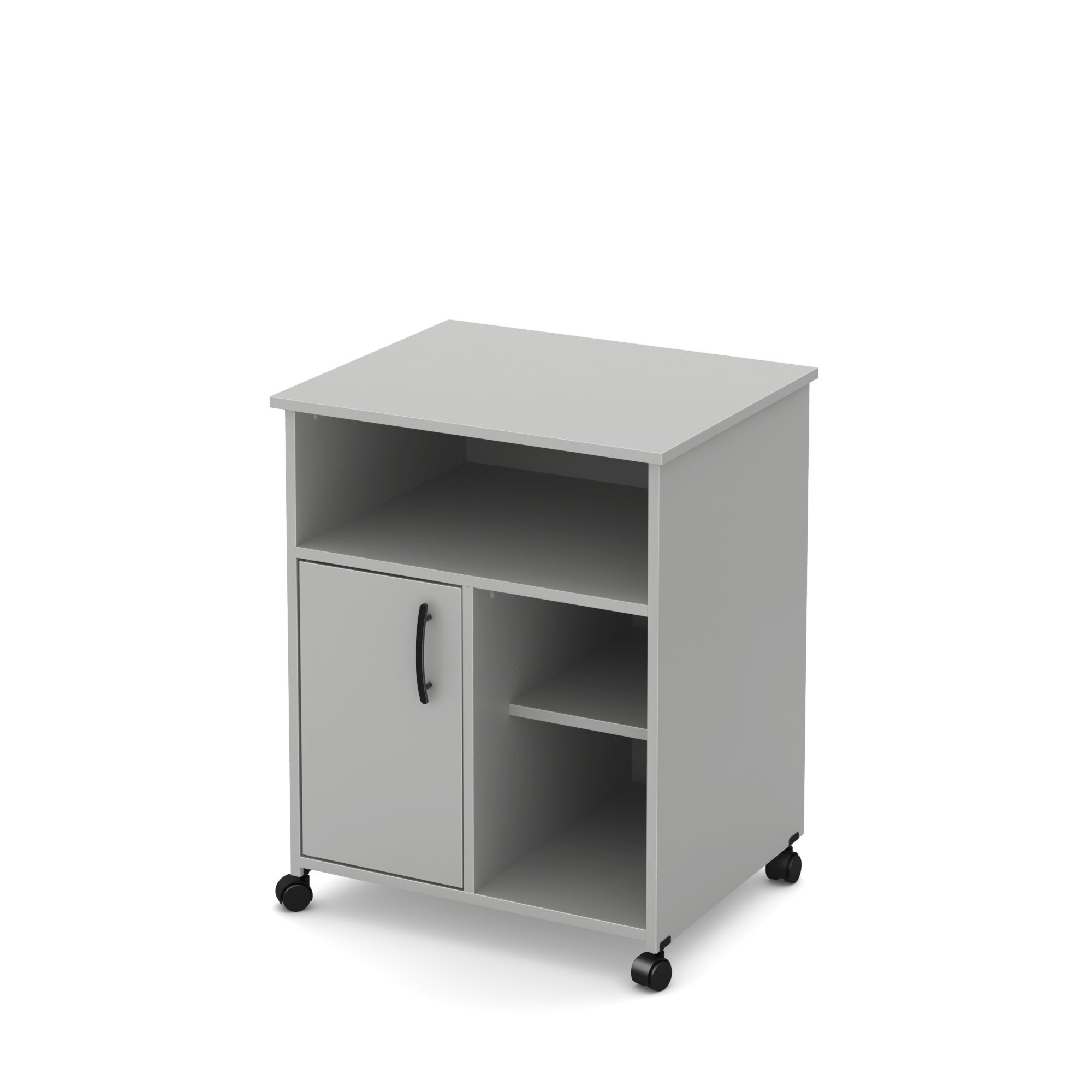 South Shore Axess Microwave Cart with Storage on Wheels, Soft Gray