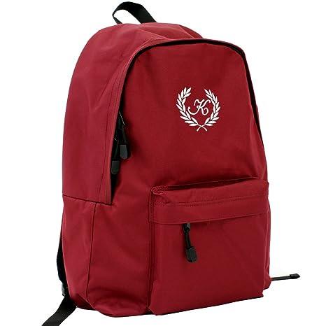 aac5babcea8d リュック キッズ スクールバッグ ロゴ葉 ワインレッド デイパック 名入れ オリジナルロゴ刺繍 高強度