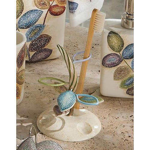 Croscill Mosaic Leaves Toothbrush Holder