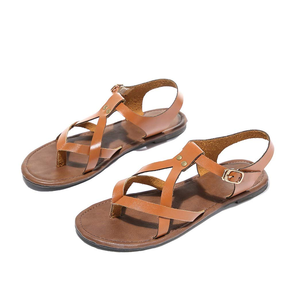 Tantisy ♣↭♣ Women Casual Shoes Flat Sandals Beach Shoes Rome Soft Gladiator Sandals Beach Non-Slip Ladies Slipper