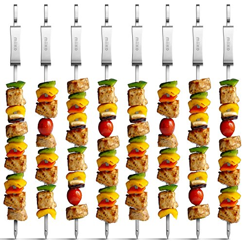 Metal BBQ kabob skewers - 8 extra long 16 inch stainless steel grill skewers with sliding handles & recipe e-book - By MiiKO