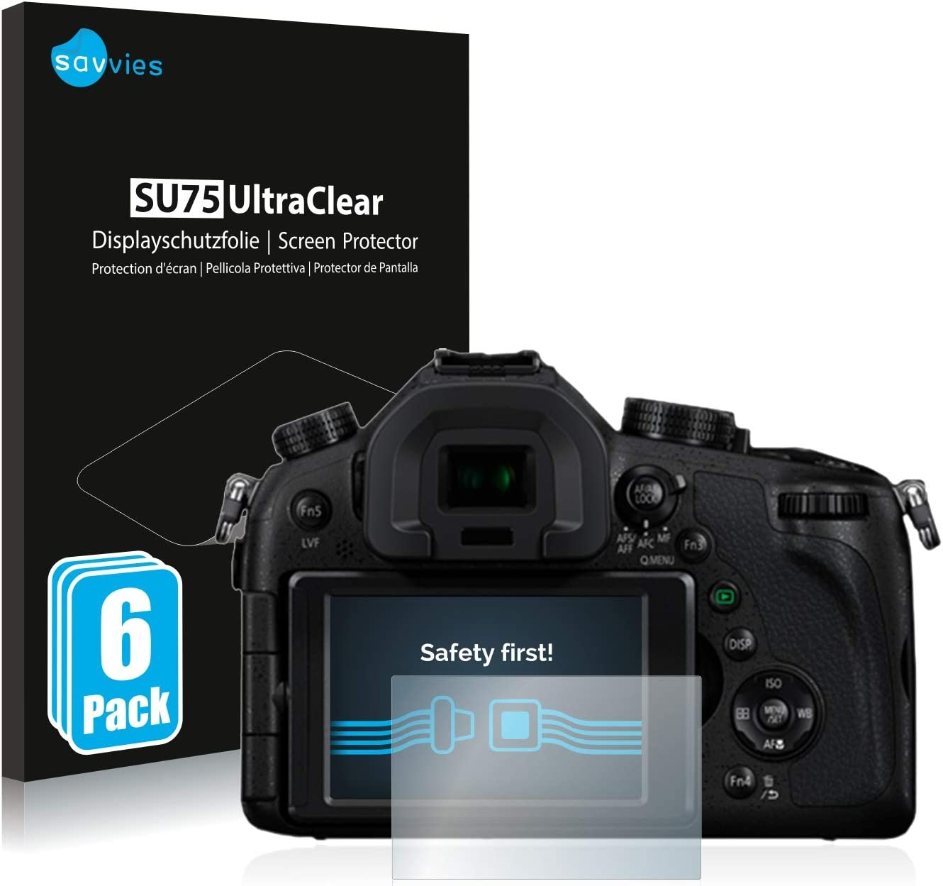 6 Pack Savvies Screen Protector compatible with Panasonic Lumix DMC-FZ1000 Screen Protector Clear Protection Film