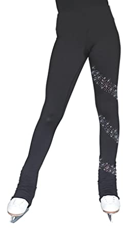 """f7bf50f635199 ChloeNoel PS96 3"""" Supplex Black/Color Waist Band Figure Skating Pants with  Crystals Spiral"""