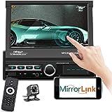 Podofo Single Din Car Stereo Bluetooth 7 Inch Touchscreen Motorized Retractable Car Radio in-Dash MP5 Player Support FM AUX U
