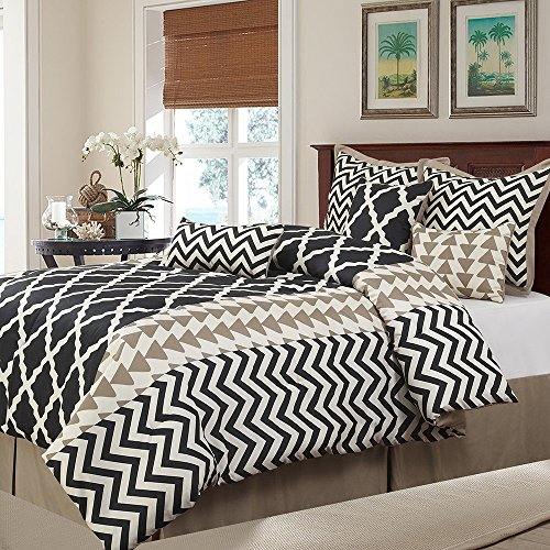 7 Piece Taupe Ivory Black Geometric Theme Comforter Queen...