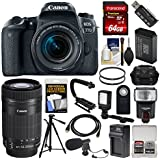 Canon EOS 77D Wi-Fi Digital SLR Camera & EF-S 18-55mm + 55-250mm IS STM Lens + 64GB Card + Case + Flash + Battery & Charger + Tripod + Filters Kit