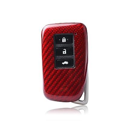 100% Carbon Fiber Case For Lexus Key Fob, Genuine Carbon Fiber Cover For Lexus ES GS IS LX NX RX RC RC-F Smart Fob Remote Key, Men\'s Car Key Fob Case Women\'s Fob Cover - Red - 3 Buttons & 2 Buttons: Automotive [5Bkhe0412974]