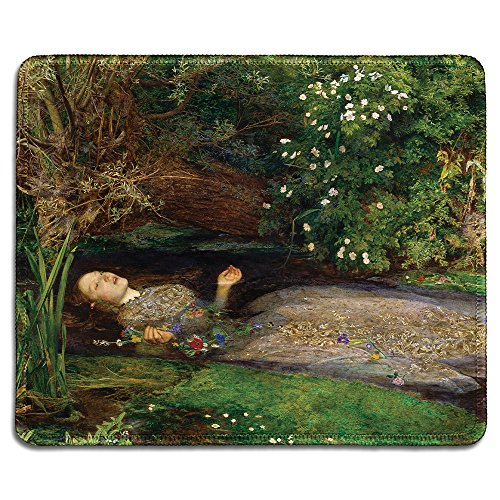 Everett Pad - dealzEpic - Art Mousepad - Natural Rubber Mouse Pad with Famous Fine Art Painting of Ophelia by John Everett Millais - Stitched Edges - 9.5x7.9 inches