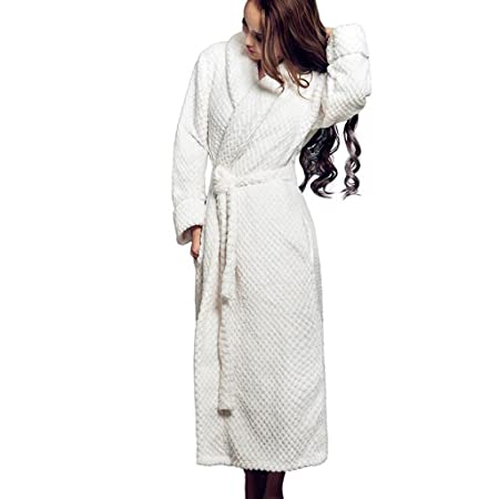 GJM Shop cotton with pockets bathrobe---- Bathrobes V-neck 100% Polyester  Fiber Female Extended Thicken Pajamas Autumn And Winter Keep Warm Nightgown  Home ... 1f48c0798