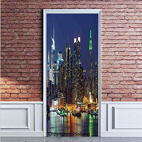 New York Door Wall Mural Wallpaper Stickers,NYC Midtown Skyline in Evening Skyscrapers Amazing Metropolis City States Photo,Vinyl Removable 3D Decals 35.4x78.7/2 Pieces Set,for Home Decor Royal Blue
