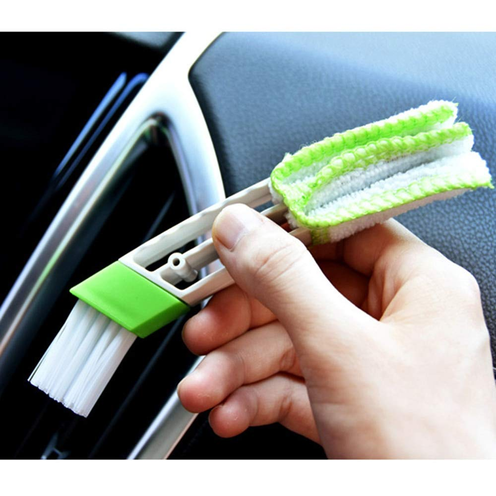 DAVITU US Warehouse Sponges, Cloths & Brushes - Car Vent Air-Condition Blind Cleaner Keyboard Duster Double Heads Cleaning Brush Detailer Tool Care Auto