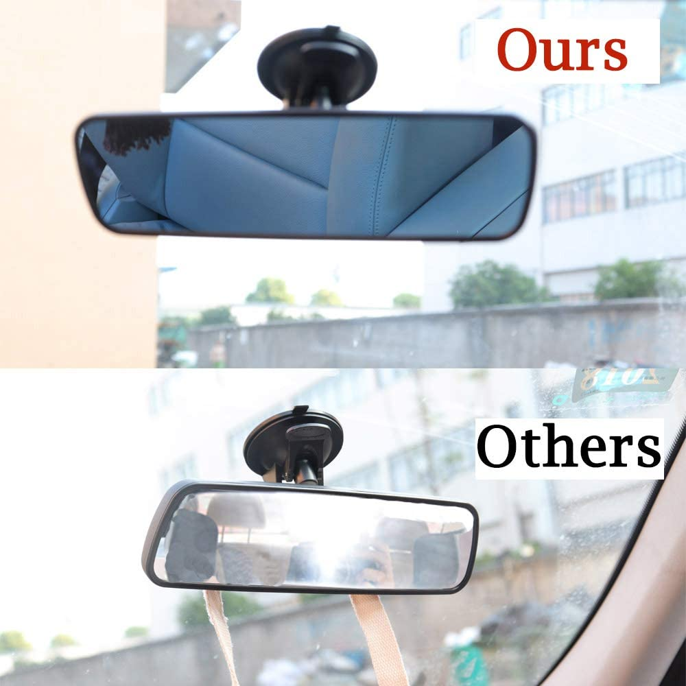 Adjustable Interior Windshield Blue Mirror Reduce Blind Spot Suction Cup Universal Rearview Mirror for Car Truck Anti-Glare, 9.65 Heart Horse Anti Glare Rear View Mirror