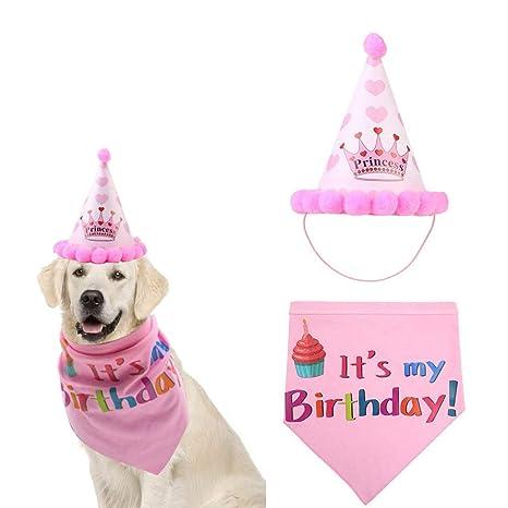 HOSOTO Pañuelos de cumpleaños para Perros y Gatos, para ...