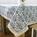 omyu Linen Cotton Dust-Proof Tablecloth Lace Edge for Home Outdoor Hotel Wedding Party Banquet Blue White Classical Porcelain Ornament (100x145)