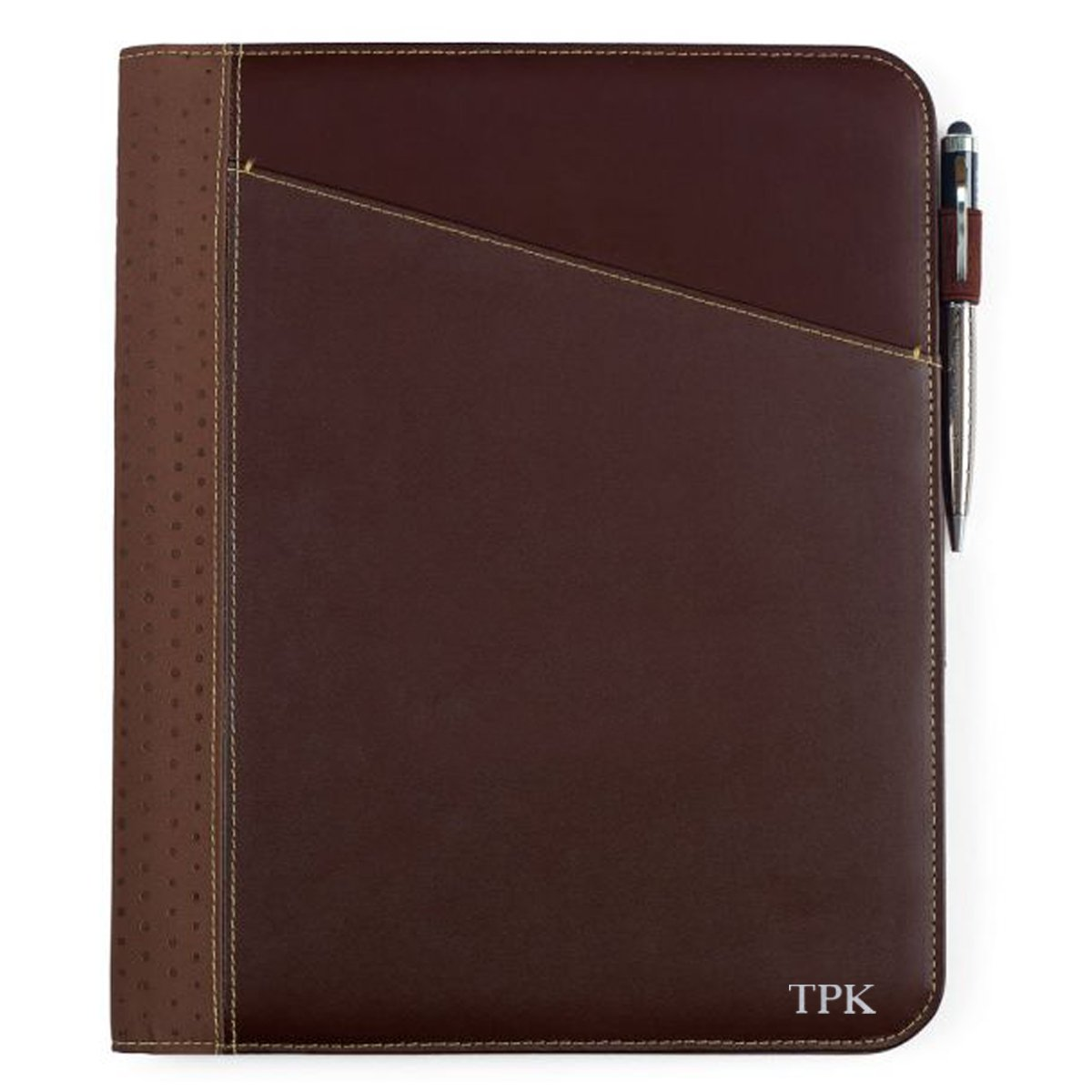 Personalized Cedar Brown Leather Business Portfolio - Business Pad Holder - Silver