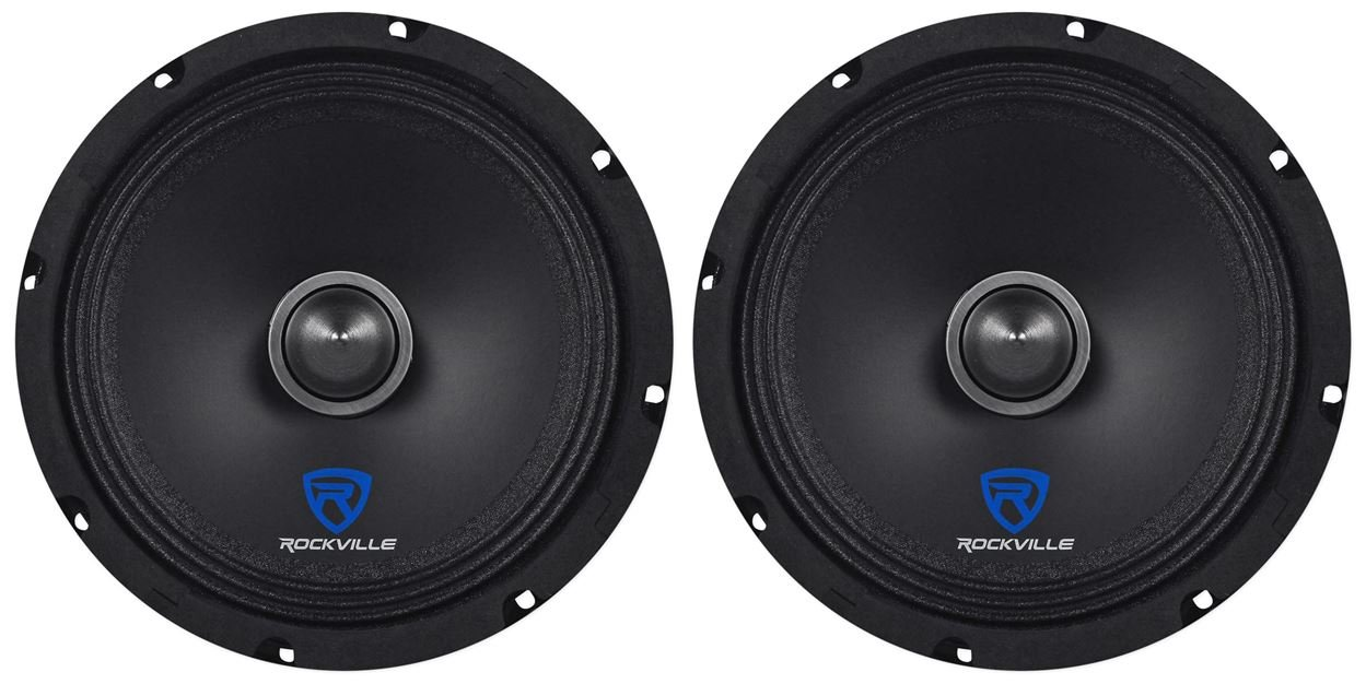 (2) Rockville RXM84 8'' 500w 4 Ohm Mid-Range Drivers Car Speakers, Mid-Bass