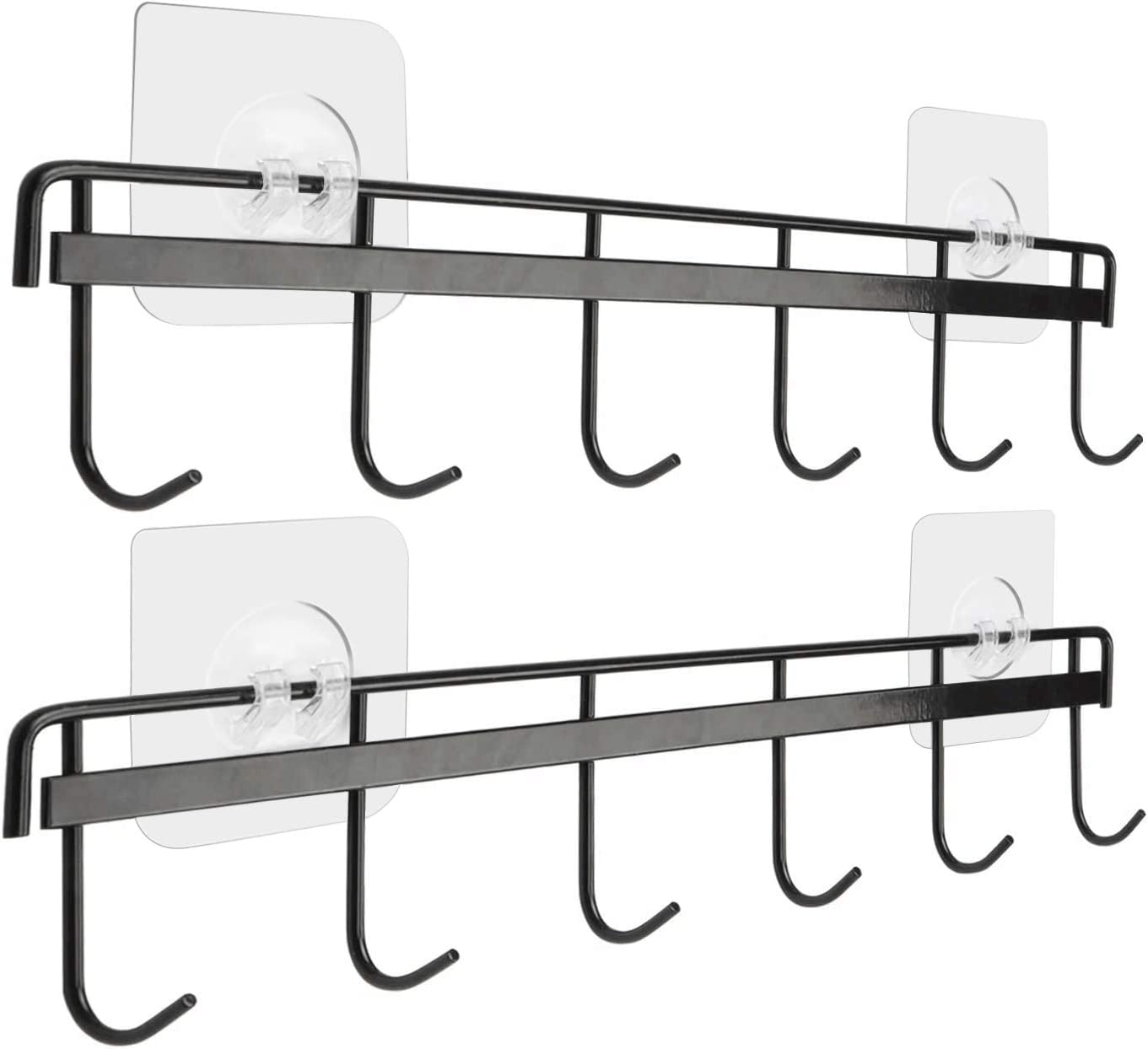 Yizhi Adhesive Wall Hooks Rack Kitchen Rail, Space Saving Utensil Holder No Drilling Wall Mounted Accessory Hanger with 6 Hooks for Kitchen Bathroom Bedroom Pack of 2 (Black)