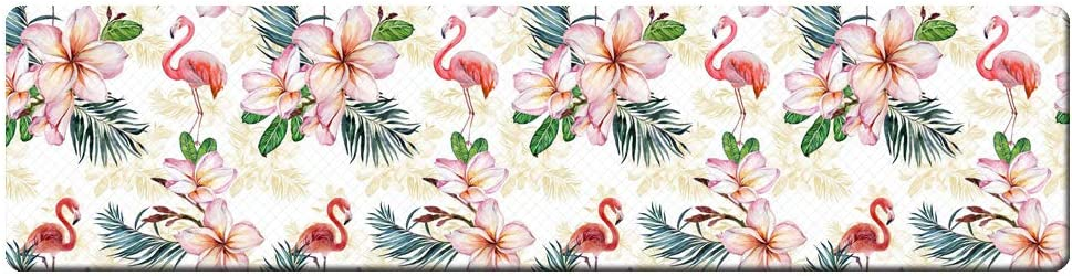 "QIYI Floor Comfort Mat 1 Piece Kitchen Rug PVC Leather Waterproof Oil Proof Runner Rug Non Skid Laundry Standing Mat Anti Fatigue Foam Cushioned Doormat 17"" W x 71"" L - Flamingo and Flowers"